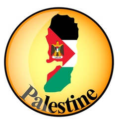 Orange button with the image maps of palestine vector