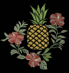 pineapple embroidery - vector image