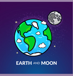 Planet earth with the moon vector