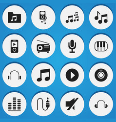 Set of 16 editable audio icons includes symbols vector