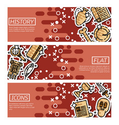 Set of horizontal banners about history vector