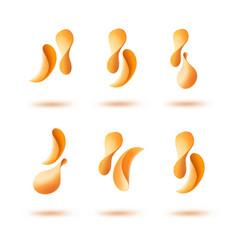 Set of potato crispy falling chips isolated vector