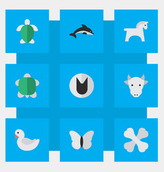 Set of simple wild icons elements steed kine fish vector