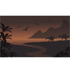 Silhouette of spinosaurus in riverbank and vector