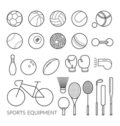 Sports Equipment Line Icons Set vector image vector image