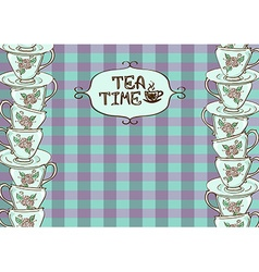 Tea party invitation with teacups vector image