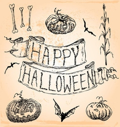 Vintage hand drawn halloween set seven vector