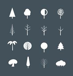 White tree silhouettes clip-art vector