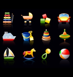 Toys black background icon set vector