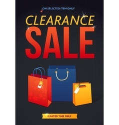 Clearance sale poster with percent discount vector