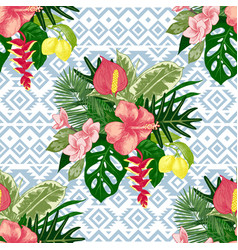 seamless pattern with tropical plants vector image