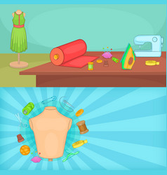 Tailor banner set horizontal cartoon style vector