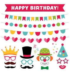 Birthday party photo booth props and decoration vector