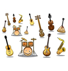 Cartoon musical instruments set vector