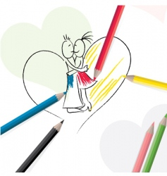 pencils with sketch of couple vector image