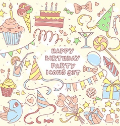 Happy birthday party set with hand drawn icons and vector