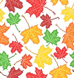 Seamless texture of maple leaves vector