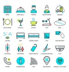 Line hotel services icons logo glyphs and vector