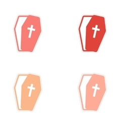 Set stickers bright coffins on white background vector