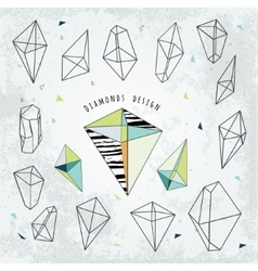 Line shapes cristal geometry diamonds design vector