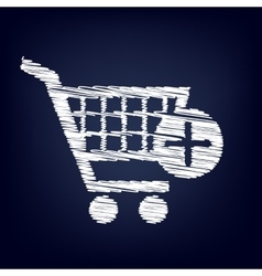 Shopping cart and add mark icon vector