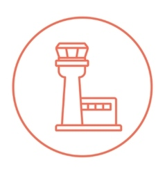 Flight control tower line icon vector