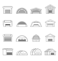 Hangar icons set outline ctyle vector