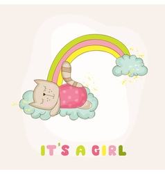 Baby cat girl sleeping on a rainbow - baby shower vector