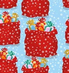 Bag with gifts seamless pattern Christmas vector image vector image