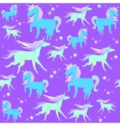Blue and green unicorns on a violet background vector