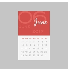 Calendar 2017 months june week starts sunday vector