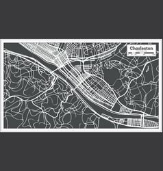 Charleston usa city map in retro style outline map vector