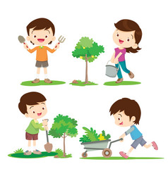 Children involved in gardening vector