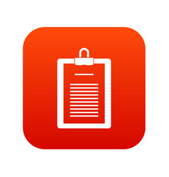 Clipboard with checklist icon digital red vector