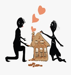 Couple Building House vector image vector image