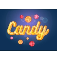 Cute candy font and sweets on the blue background vector
