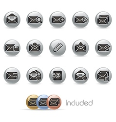 E mail Icons MetalRound Series vector image