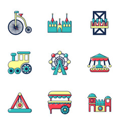 entertainment park icons set flat style vector image