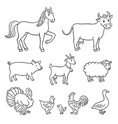 Farm animals in contours vector