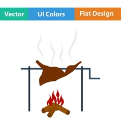 Flat design icon of roasting meat vector image
