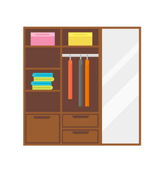 Flat design wardrobe of cupboard icon isolated vector