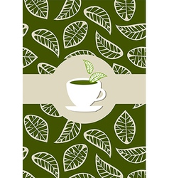 Green tea package label vector image
