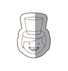 Happy groom face with hat vector