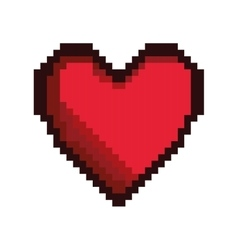 Heart game pixel figure isolated icon vector