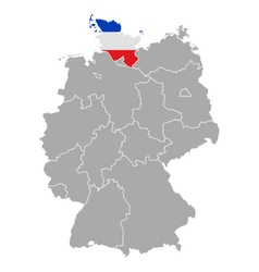 Map of Germany with flag of Schleswig-Holstein vector image vector image
