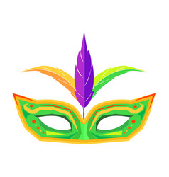 mardi gras mask with feathers isolated vector image vector image