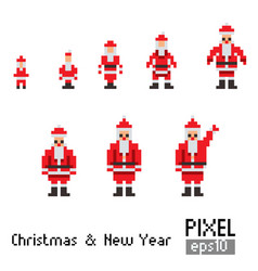 Pixel santa with blue horse vector