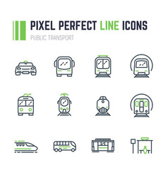 Public transport 12 icon set vector