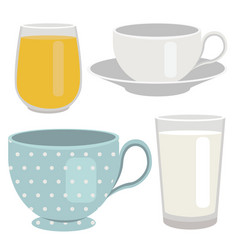 Set of breakfast drinks object vector