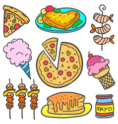 Set of food element doodle various vector